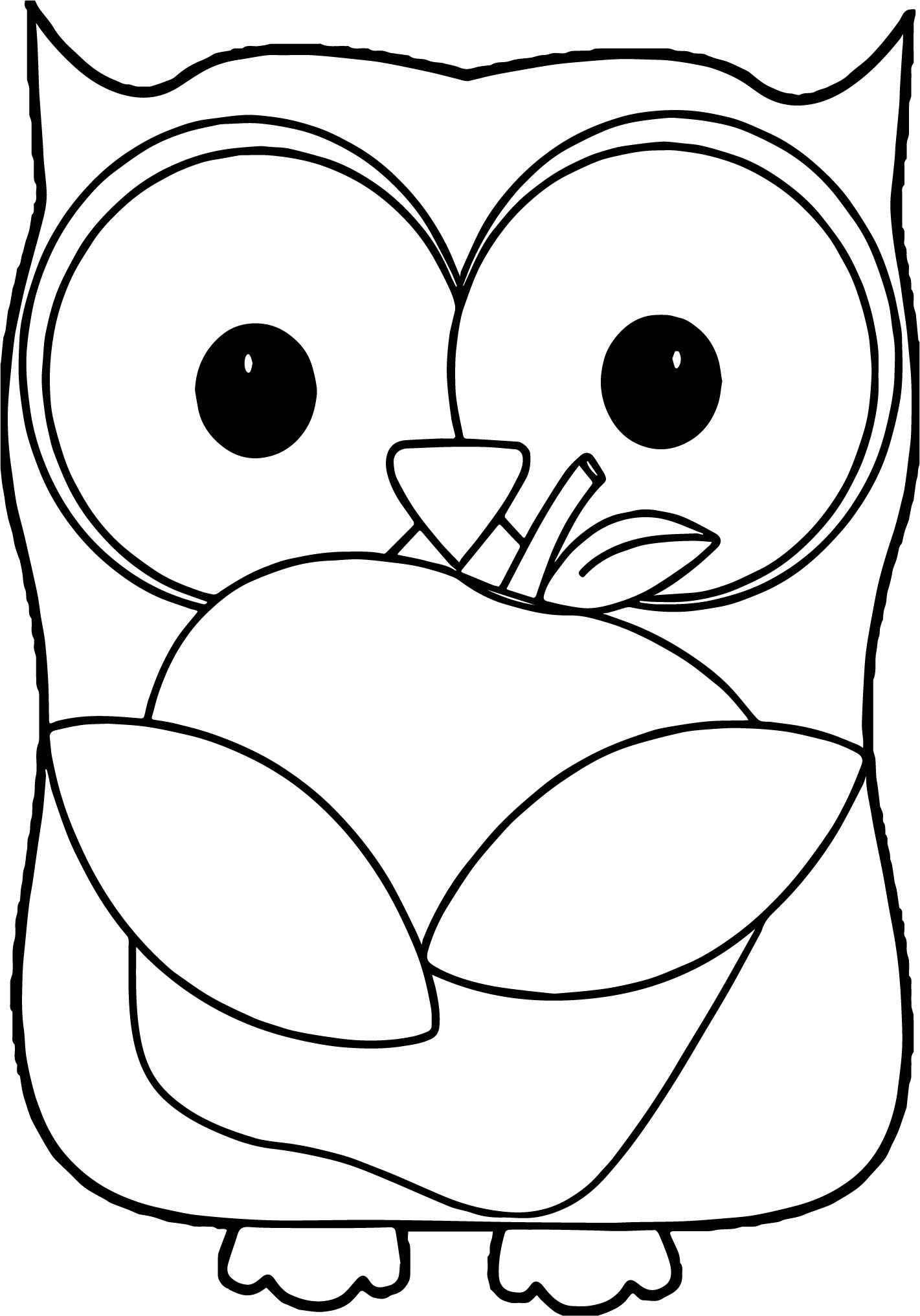 Owl Holding Green Apple Coloring Page