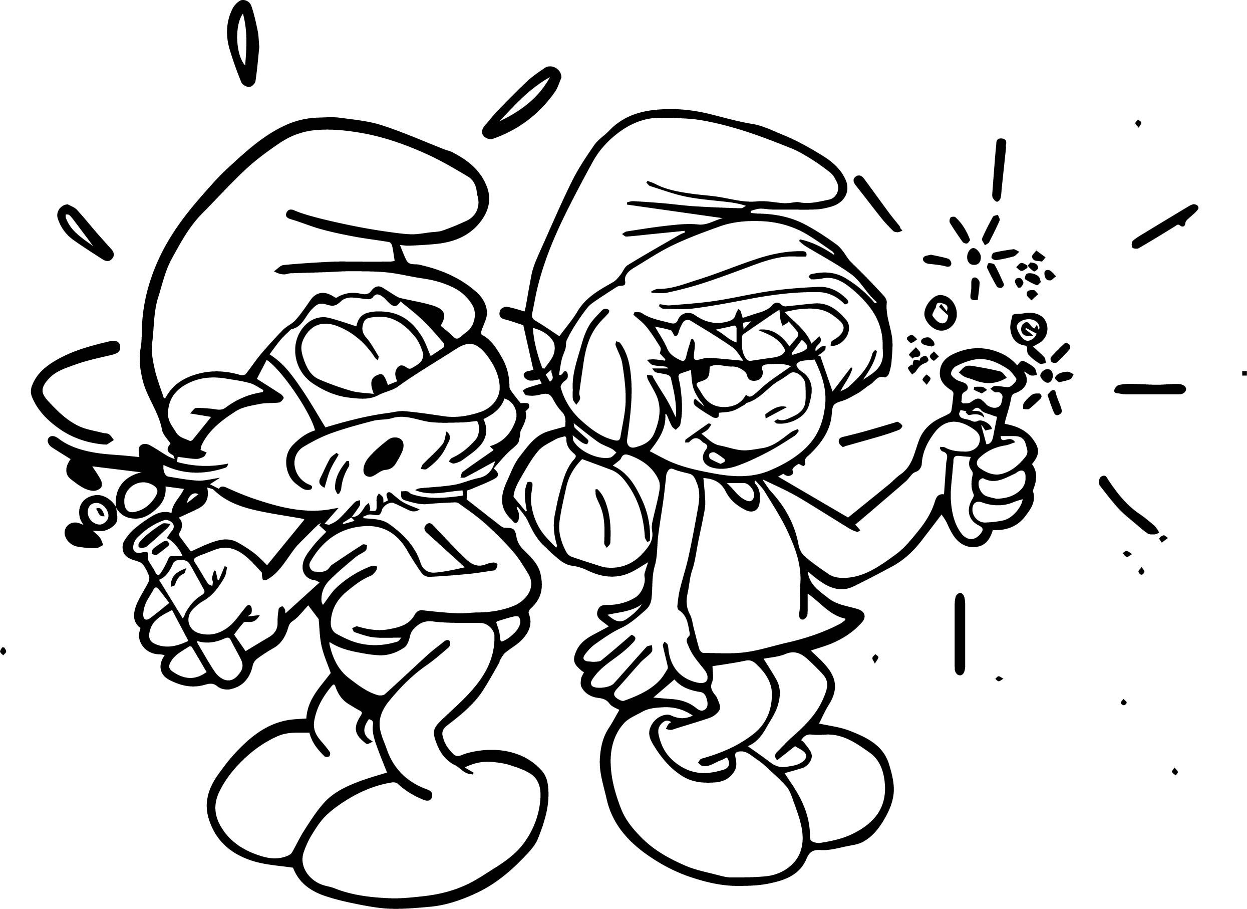 Papa And Mama Smurf Coloring Page
