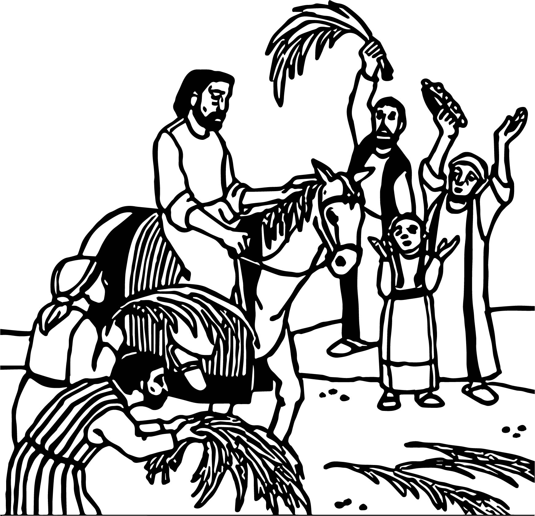 Passion Palm Sunday Projection Coloring Page | Wecoloringpage.com