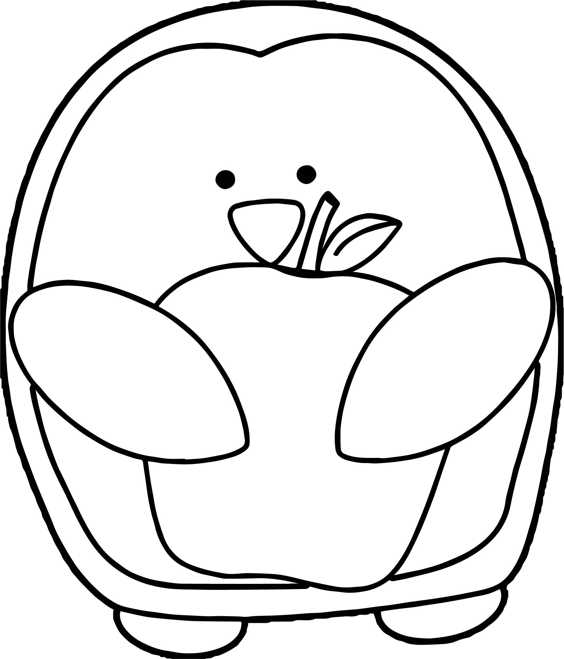 Penguin With Apple Coloring Page
