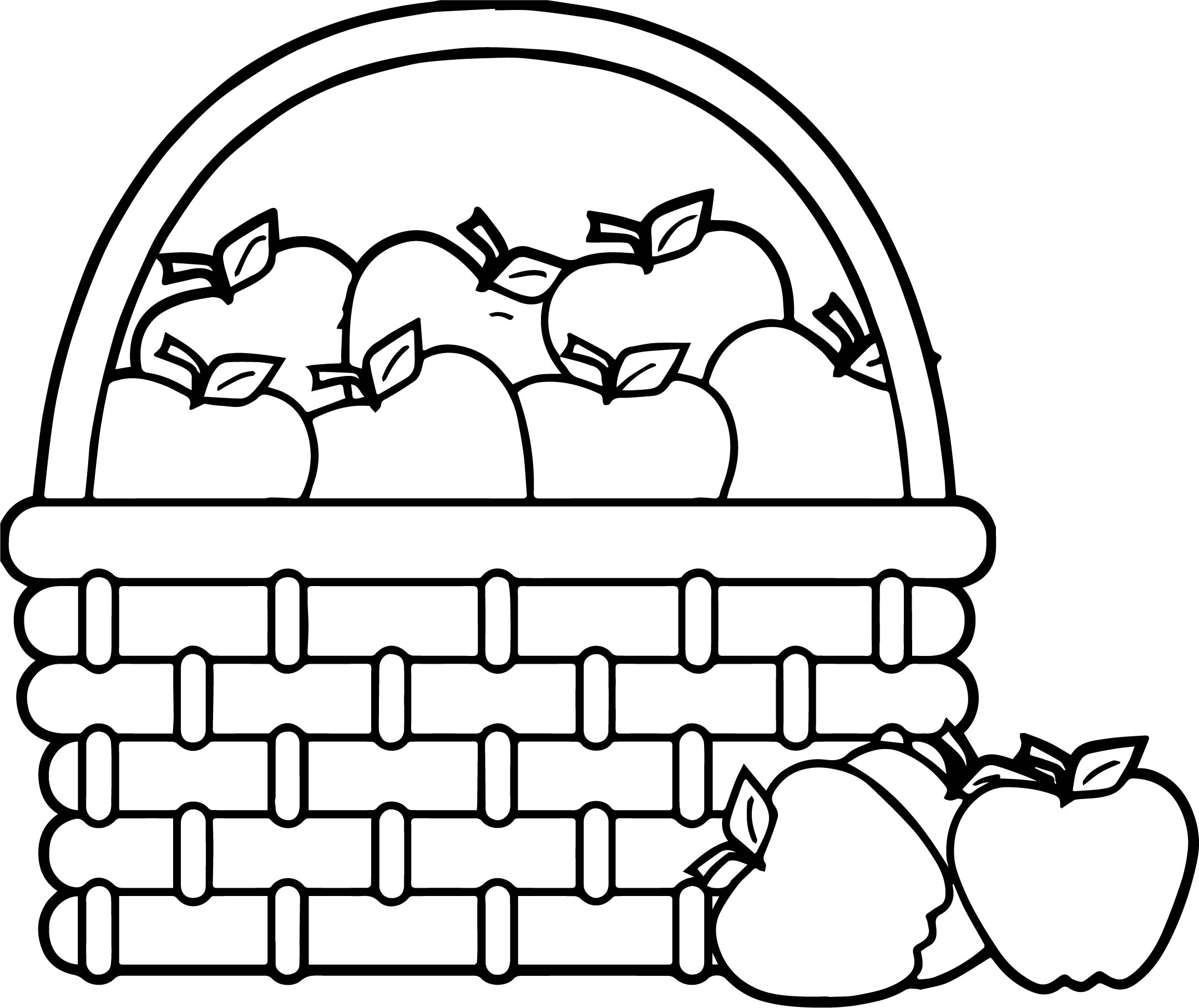 Picnic Basket Apple Basket Basket Apples Coloring Page | Wecoloringpage