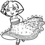Princess Dora Cartoon Coloring Page