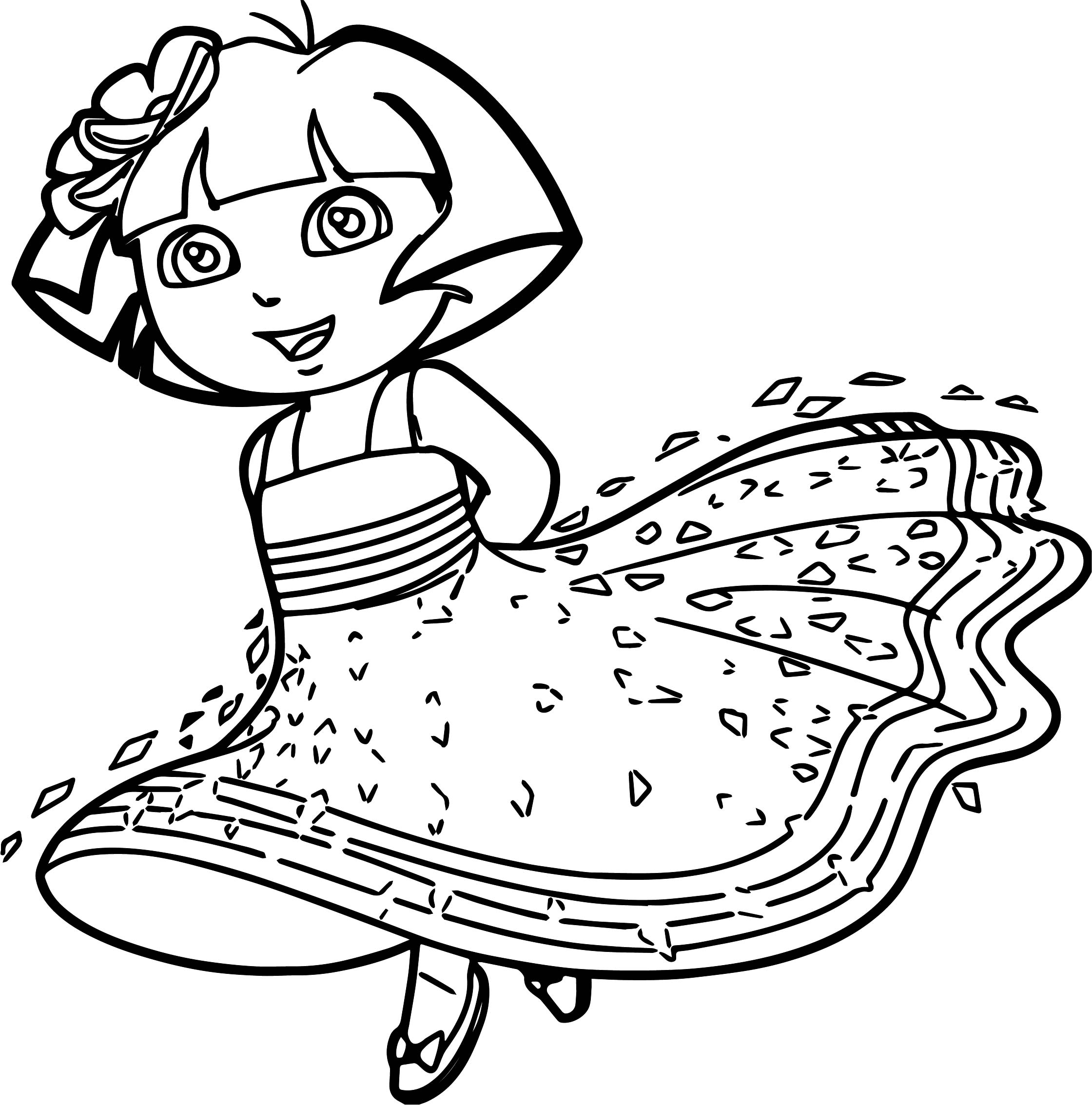 Dora princess coloring pages ~ Princess Dora Cartoon Coloring Page | Wecoloringpage.com