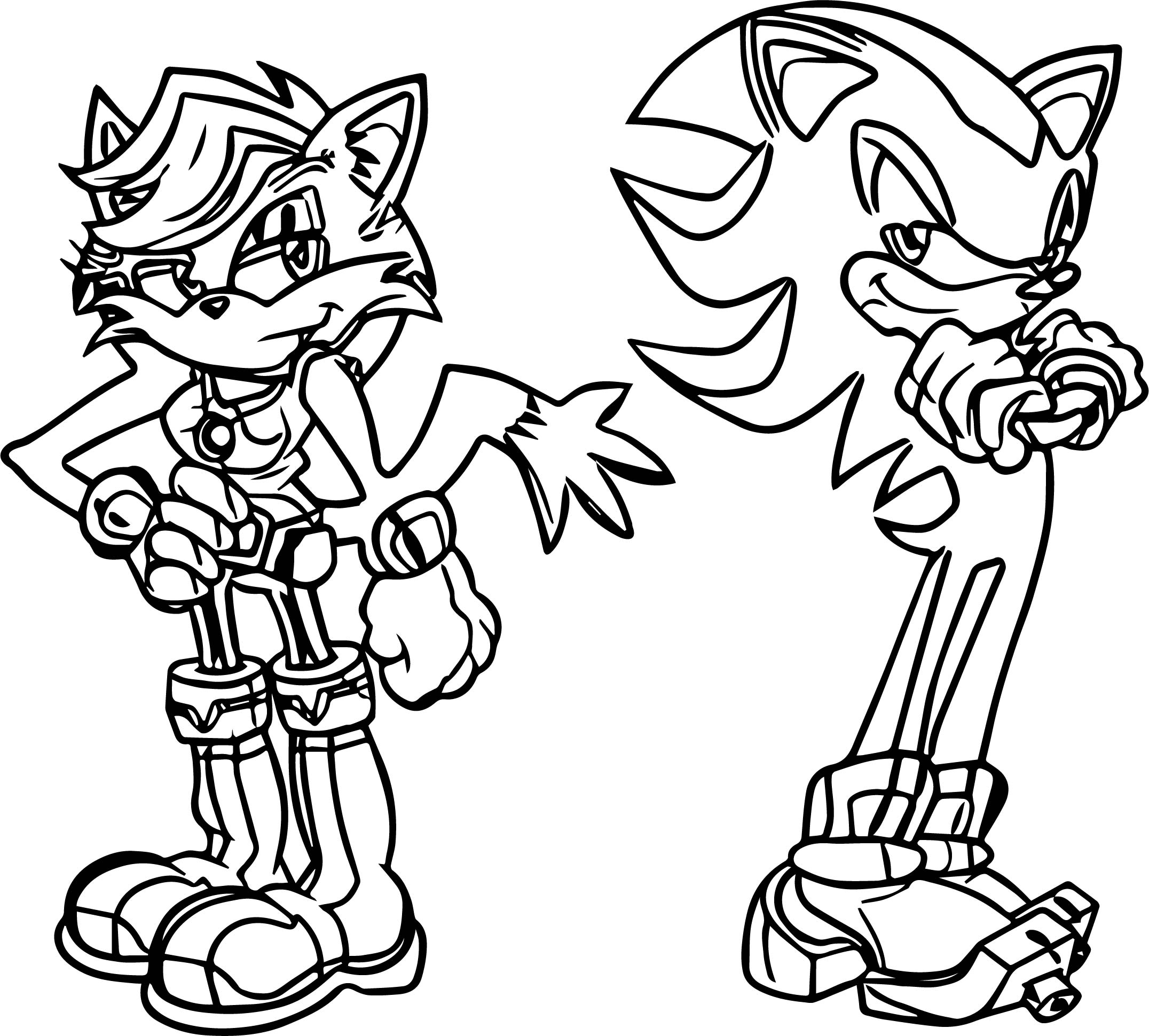 Sam The Cat Shadow The Hedgehog Estilo Archie Coloring Page
