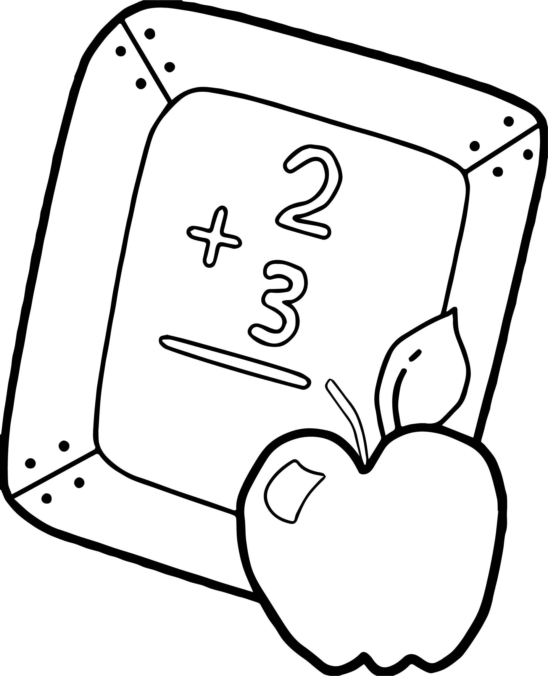 School Apple Slateapple Coloring Page