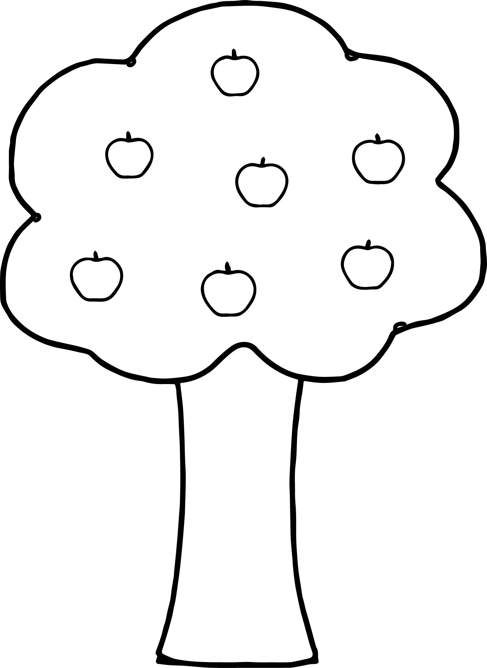 Seven Apple Tree Coloring Page