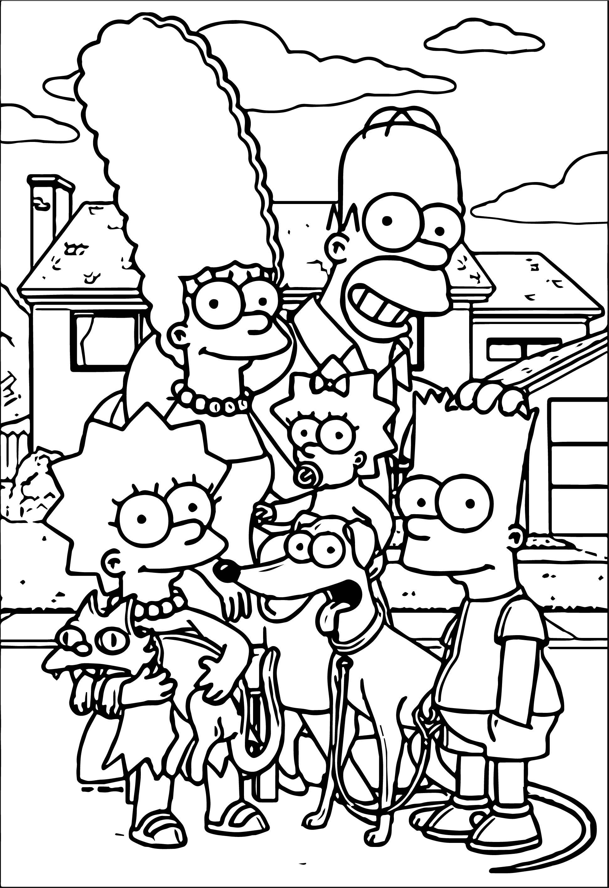 Simpsons family at street coloring page for Coloring pages simpsons