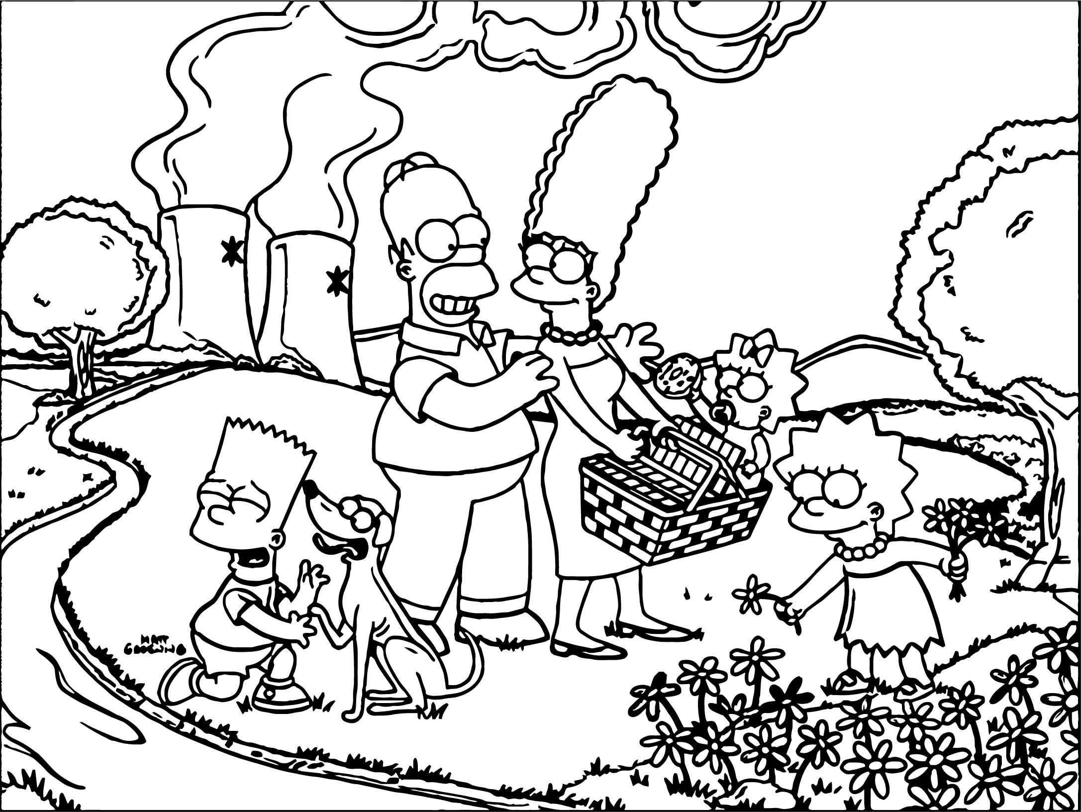 coloring pages of the simpsons - simpsons springfield coloring page