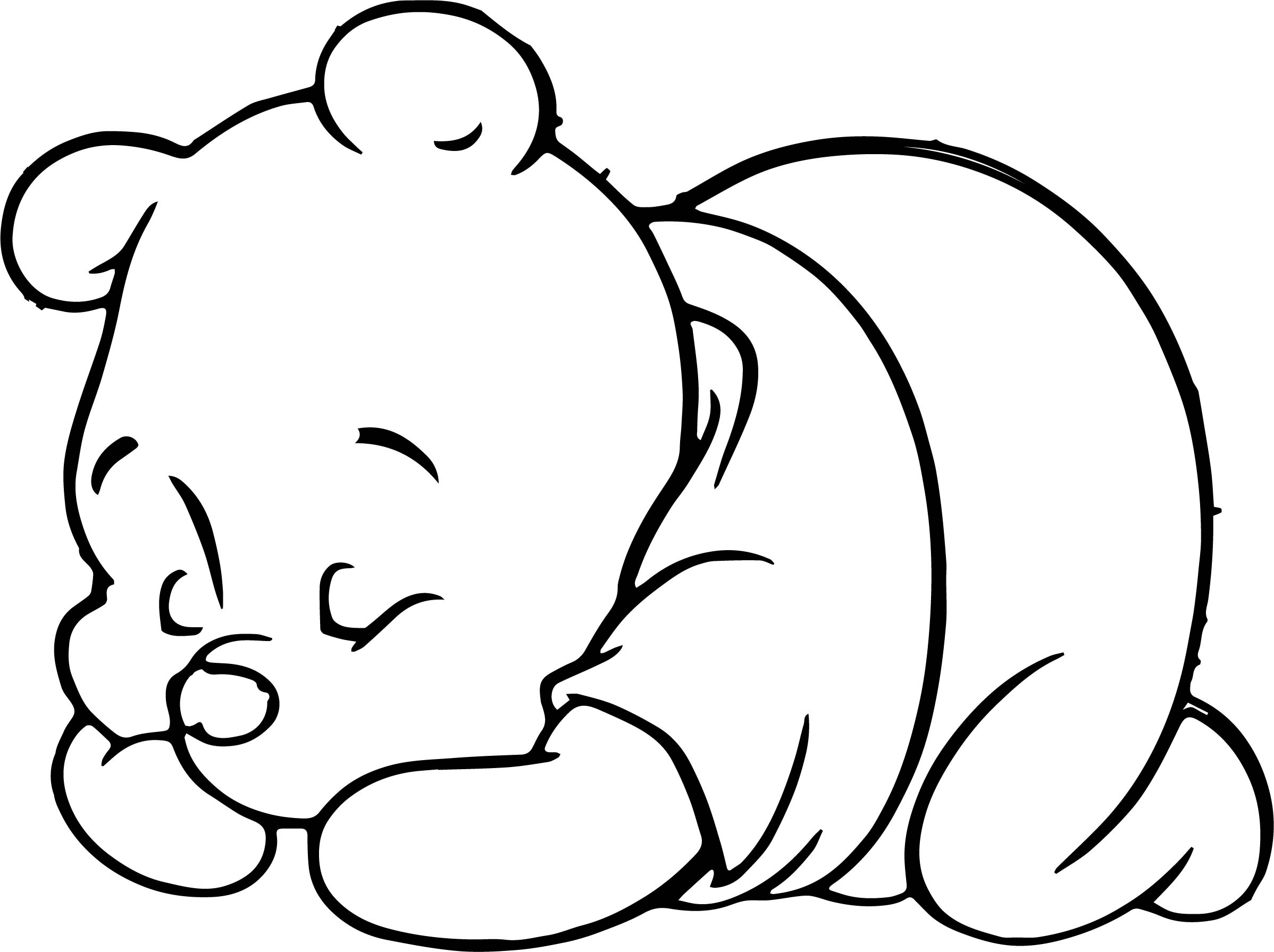 Sleeping Baby Pooh Coloring Page