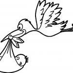 Stork Flying Baby Coloring Page
