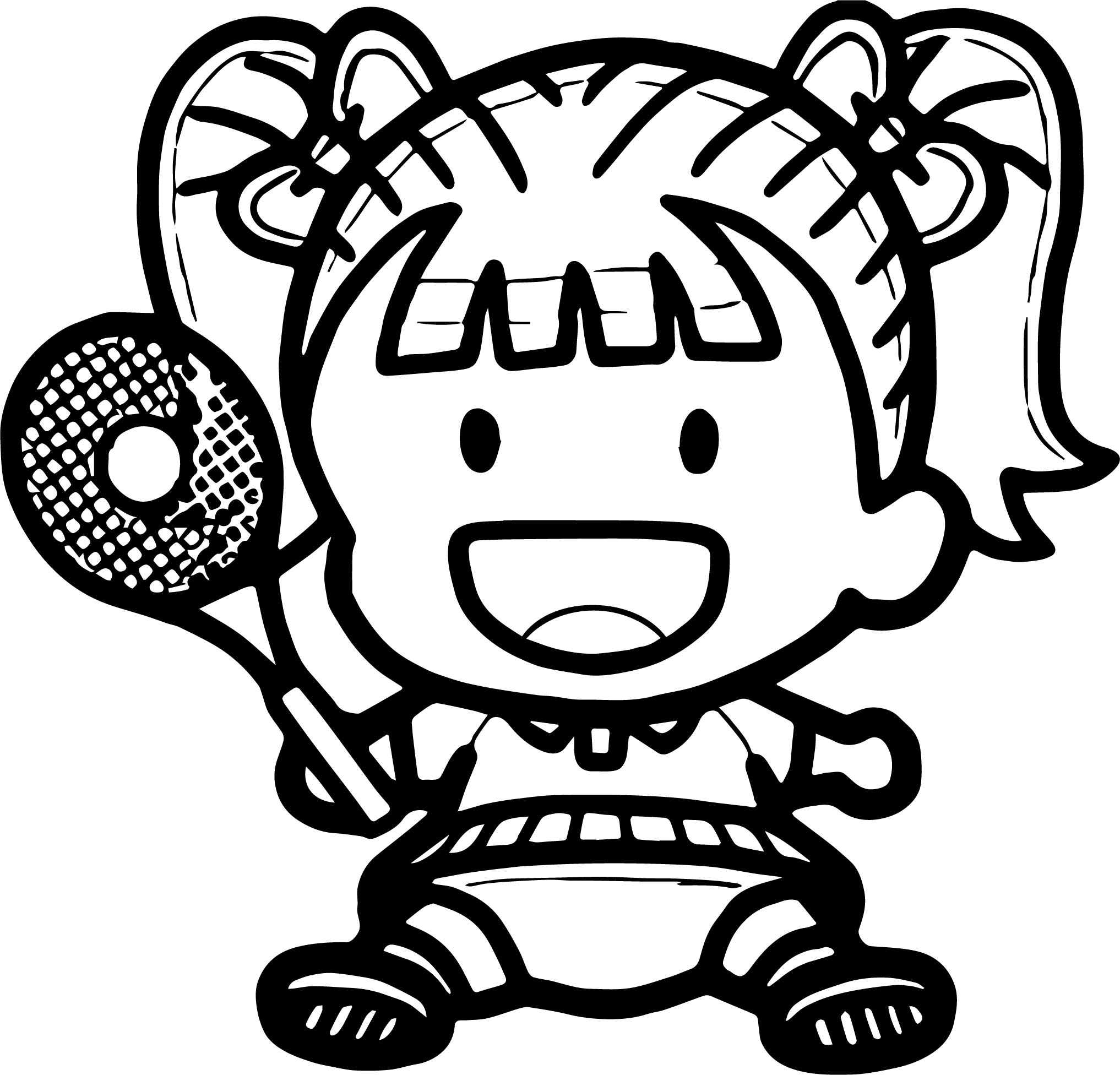 Tennis Baby Girl Coloring Page