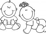 Two Baby Boy Coloring Page