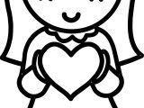 Valentine Girl Hearts Coloring Page