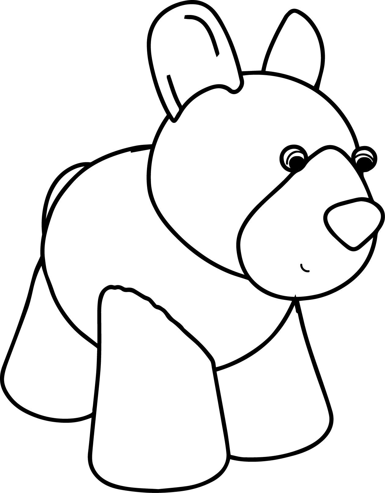 Waiting Cartoon Dog Coloring Page And Sheet