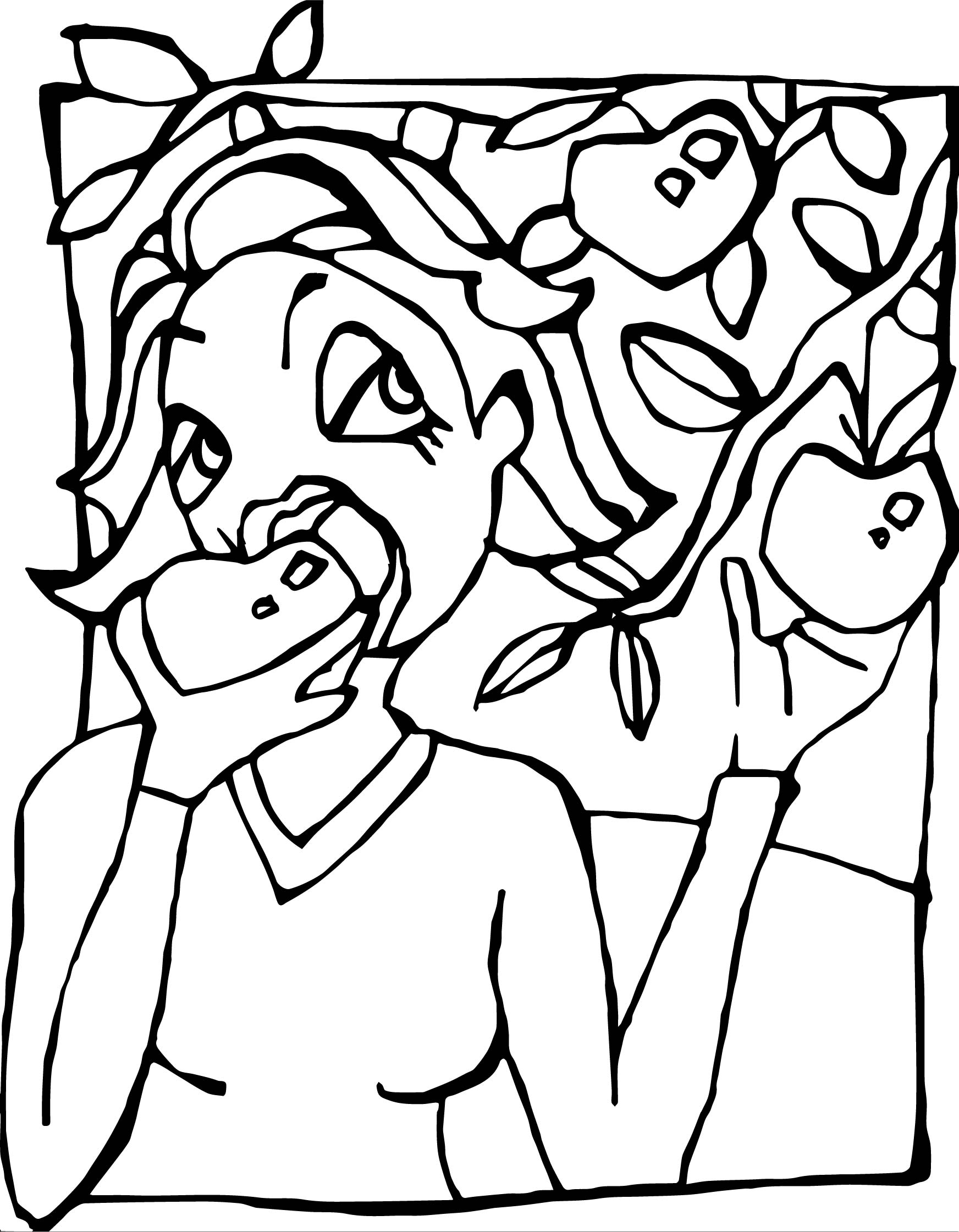 Woman Eating Apple Coloring Page