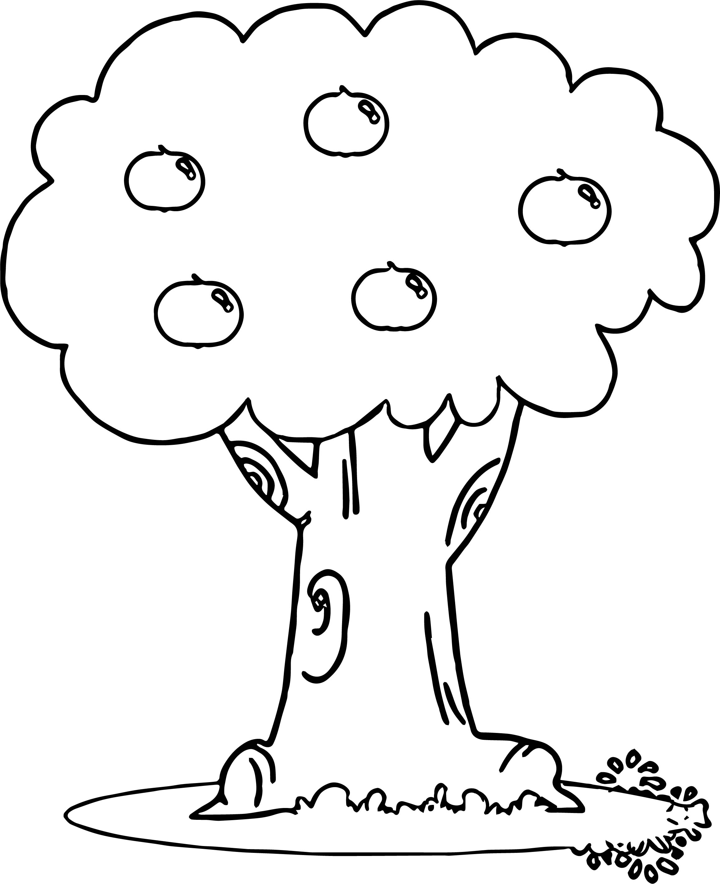 wonderful apple tree coloring page - Apple Tree Coloring Page