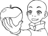 Young Aang Avatar Apple Coloring Page