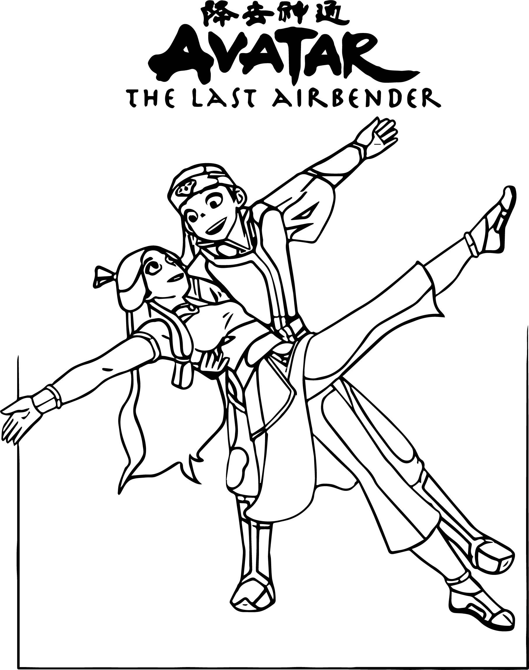 Aang And Katara Kuro Theninthson Avatar Aang Coloring Page