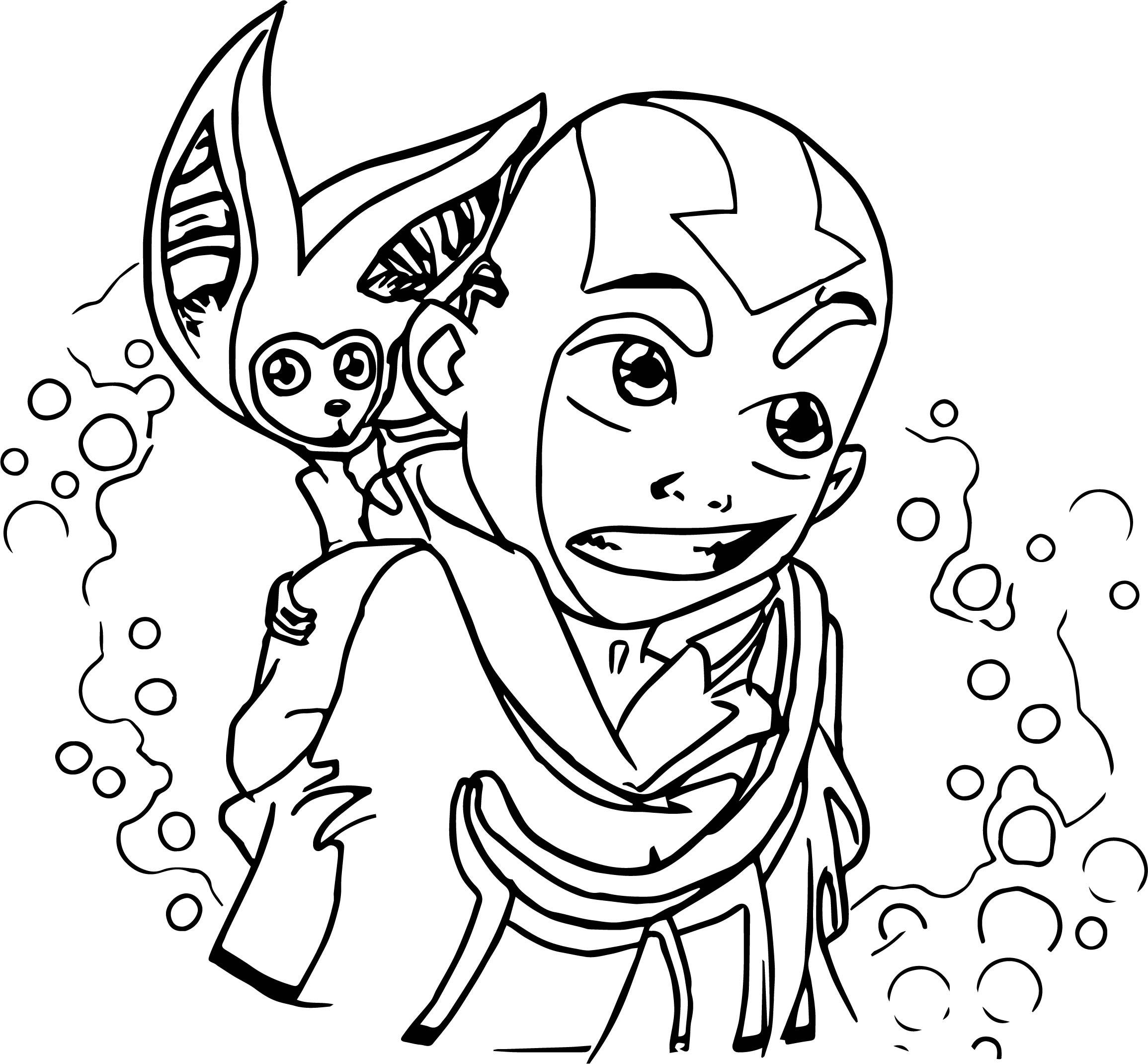Aang And Momo Fanart Avatar Avatar Aang Coloring Page
