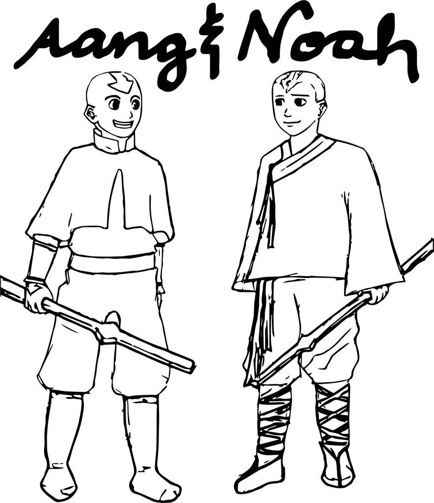 Avatar Aang Coloring Page: Aang And Noah Suzettergreinwich Avatar Aang Coloring Page