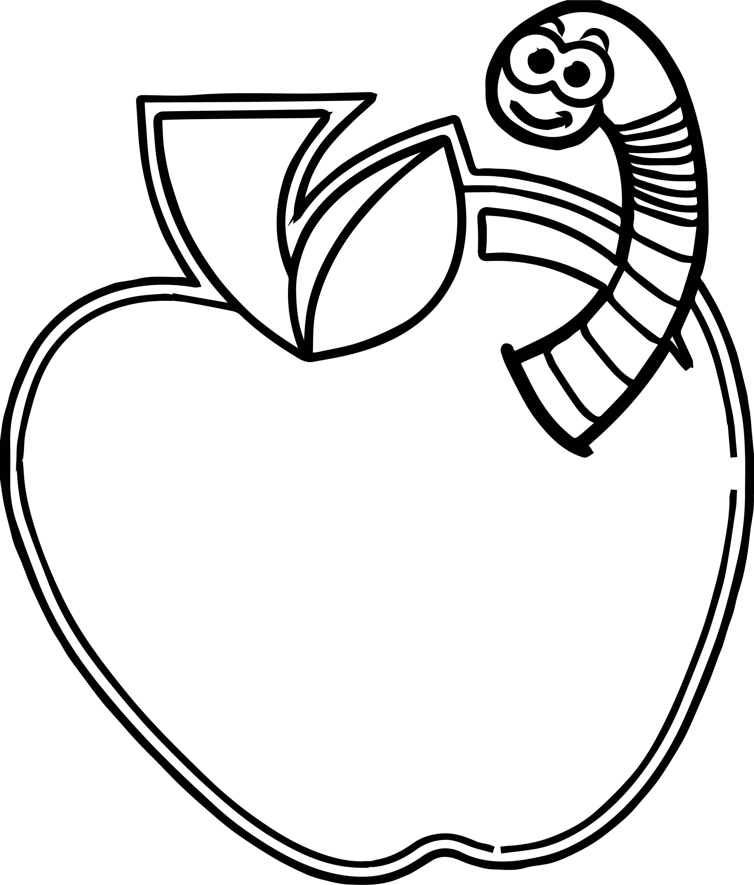 Apple Worm Coloring Pages