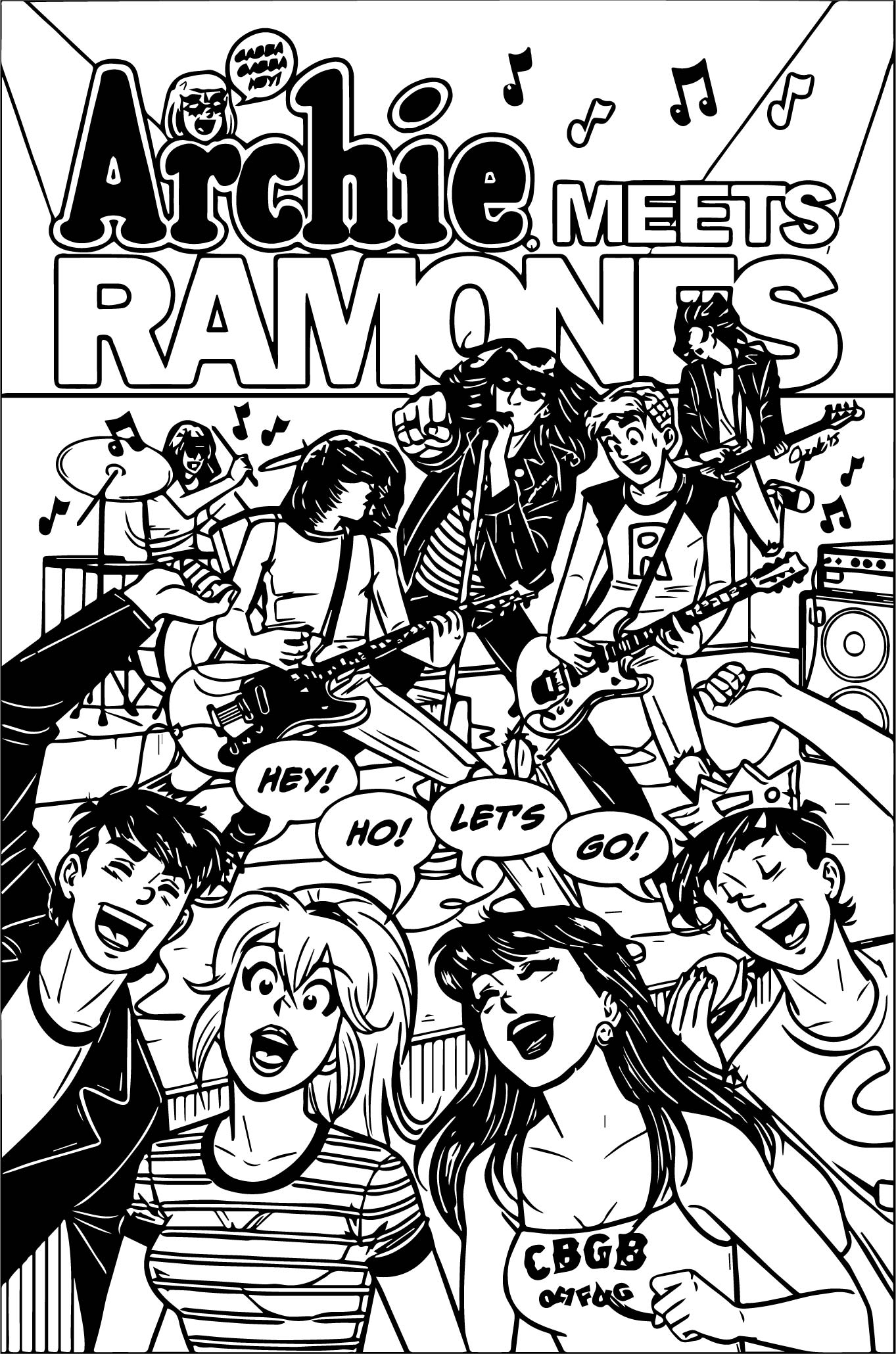 Archie Meets The Ramones Cover Galley Coloring Page | Wecoloringpage
