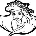 Ariel Mermaid Cute Face Coloring Page