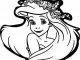 Ariel Mermaid Cute Face Coloring Page