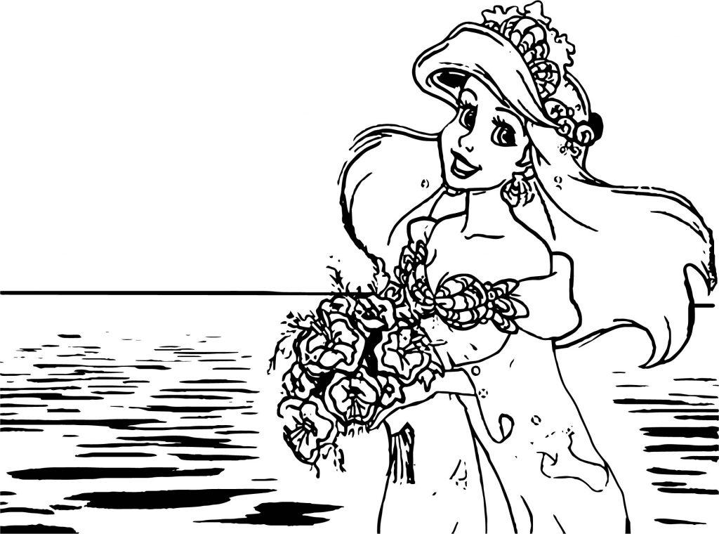 Ariel Mermaid Sea Girl Wedding Coloring Page | Wecoloringpage
