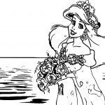 Ariel Mermaid Sea Girl Wedding Coloring Page
