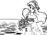 Ariel Mermaid Sea Girl Wedding Coloring Page