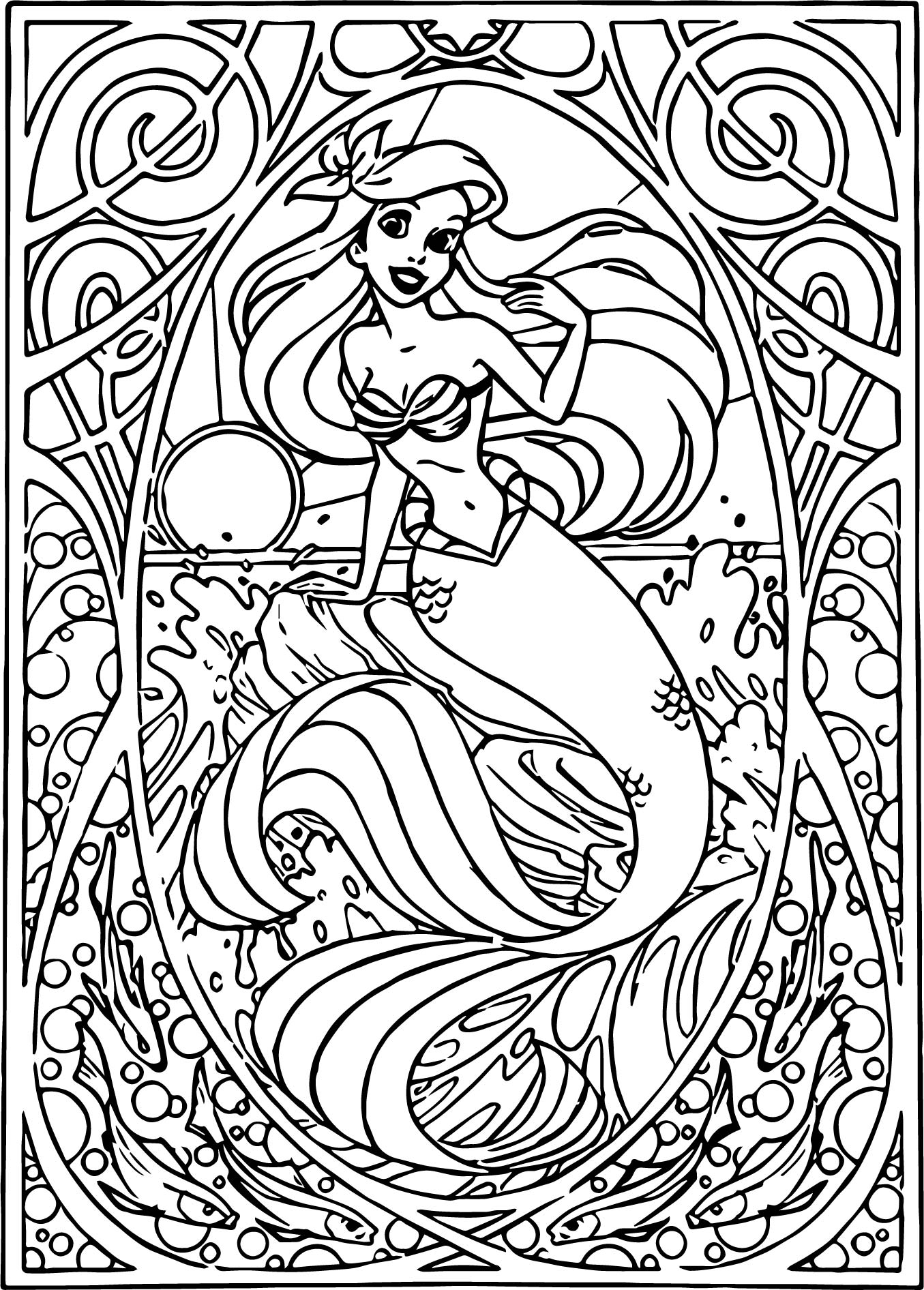 Ariel Mermaid Wall Picture Coloring Page