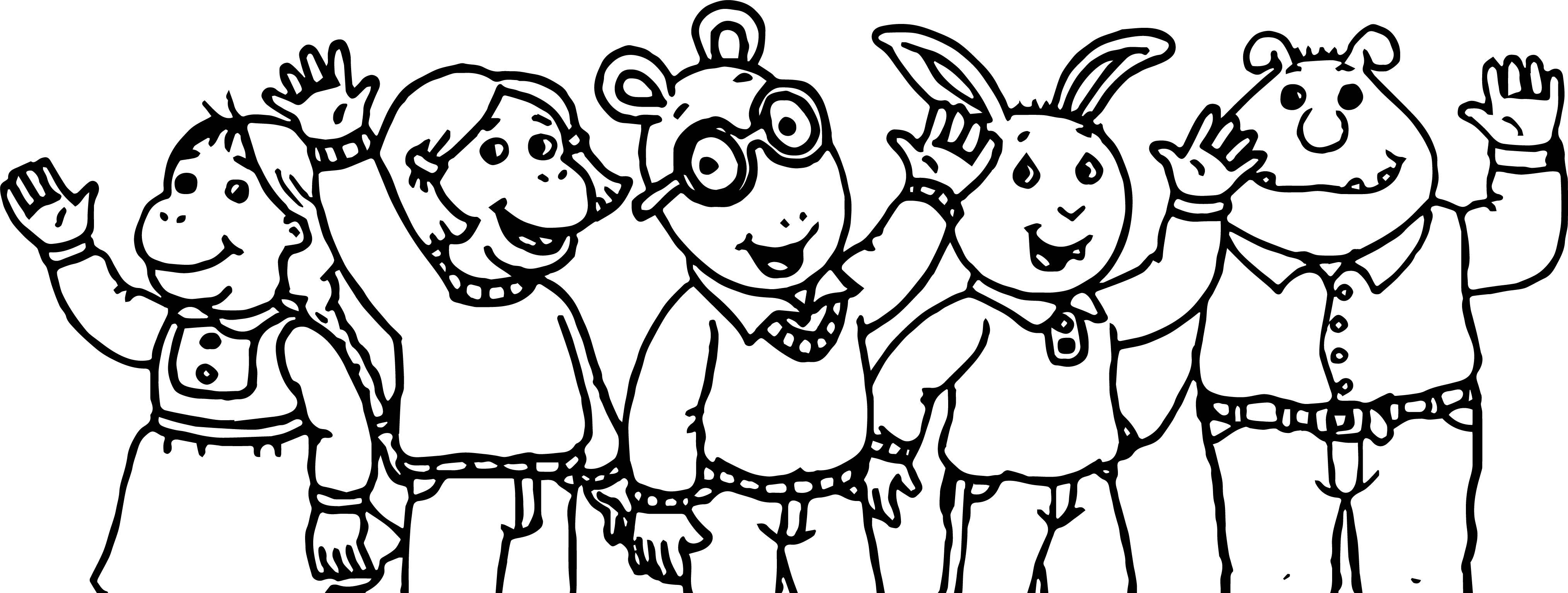 Arthur Friends Hello Coloring Page