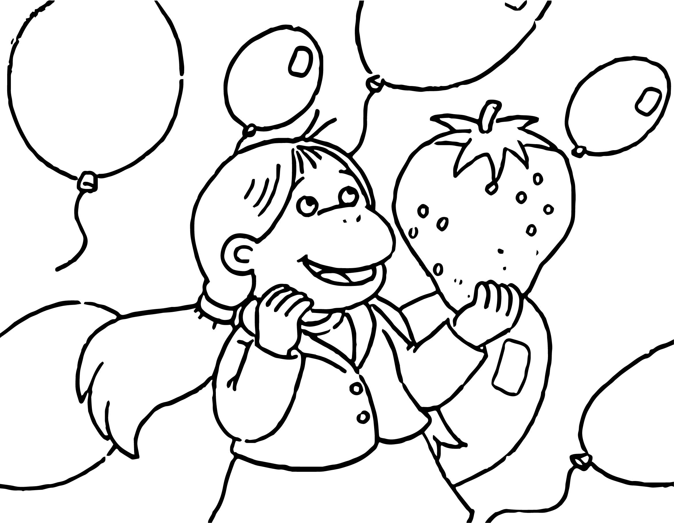Arthur Strawberry Balloon Coloring Page