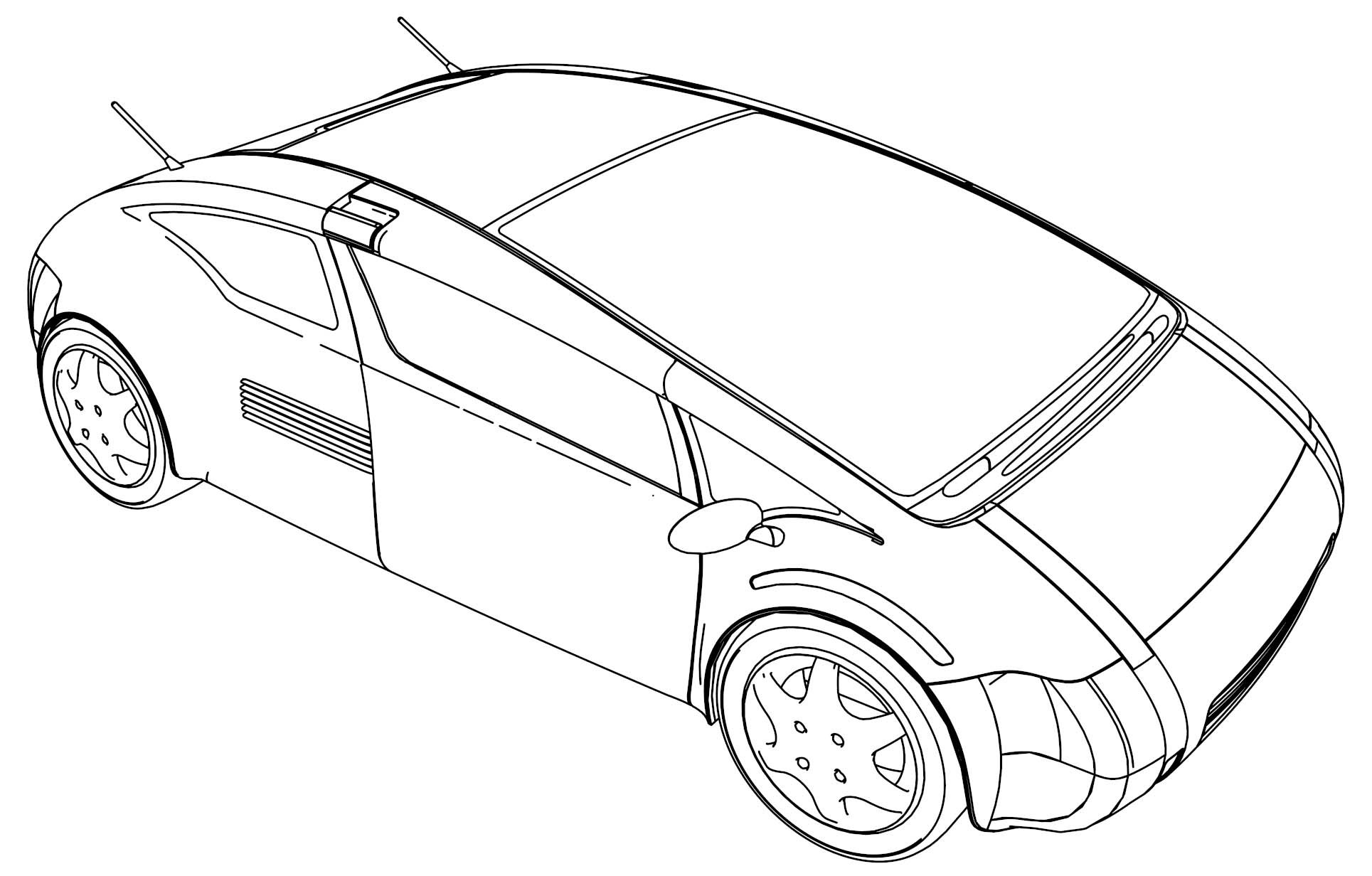 Asterisk Modern Car Coloring Page