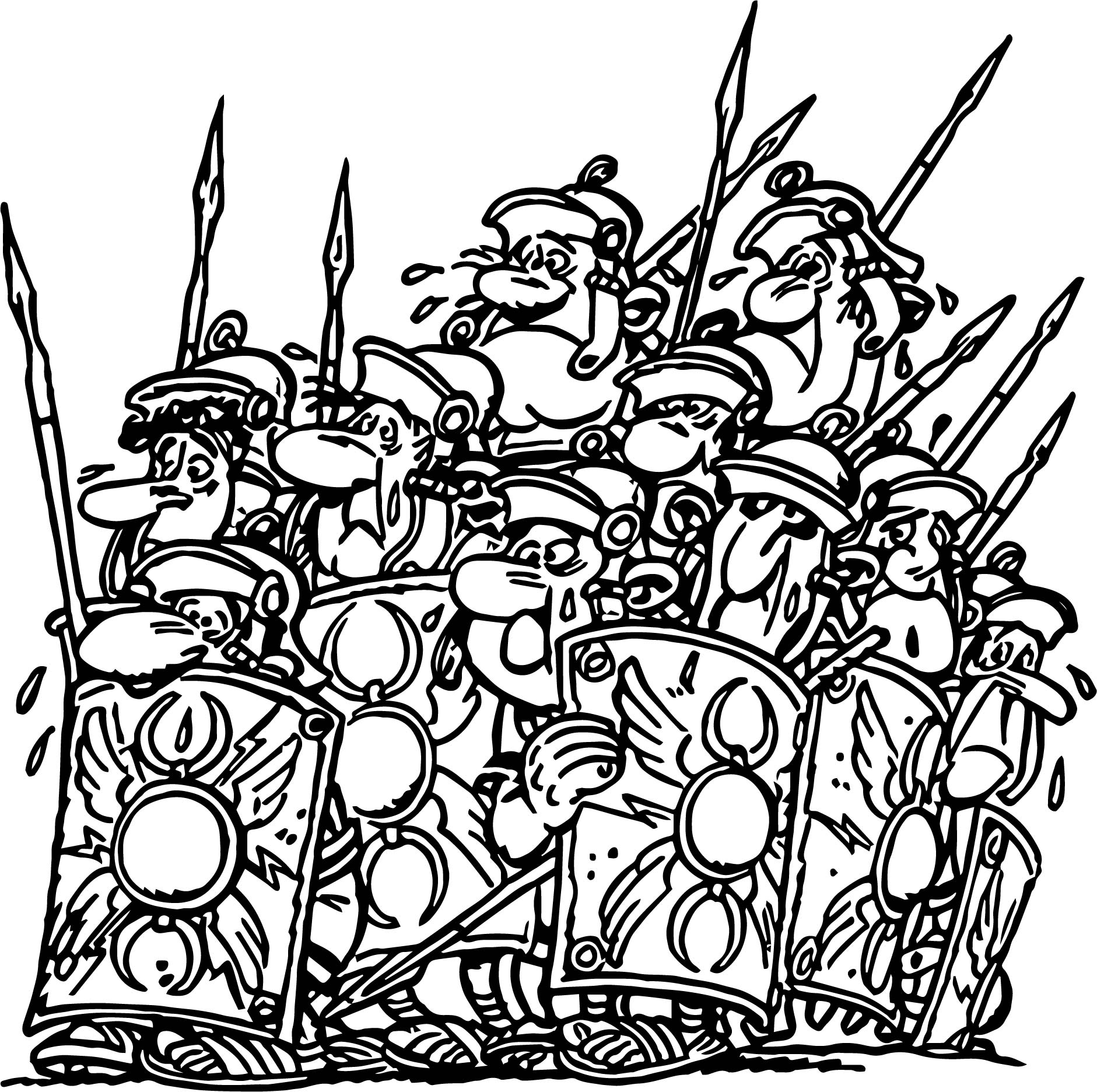Asterix Soldiers Fear Coloring Page