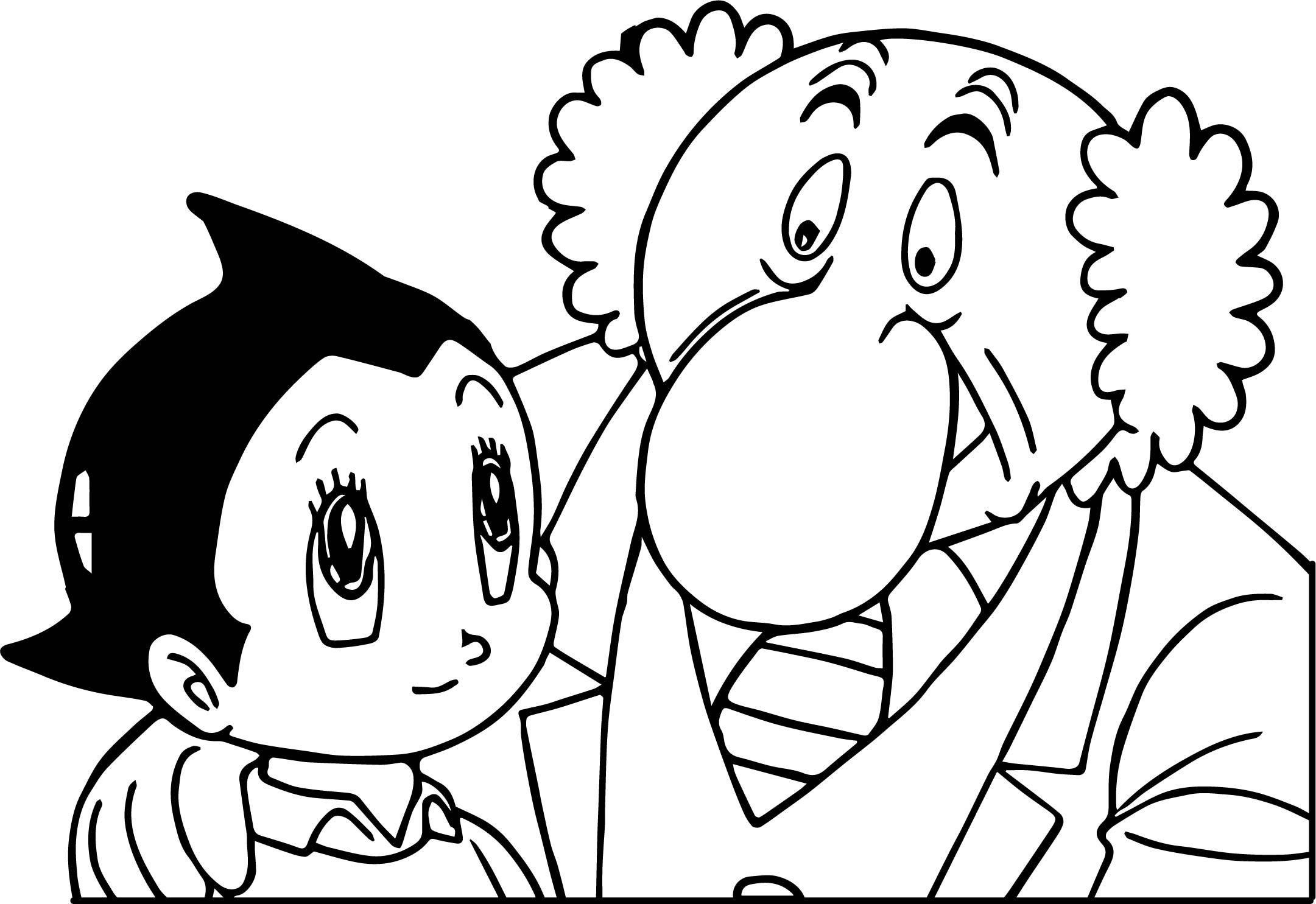 Astro boy and doctor coloring page for Astro boy coloring pages free