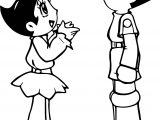 Astro Boy And Girl Talking Coloring Page