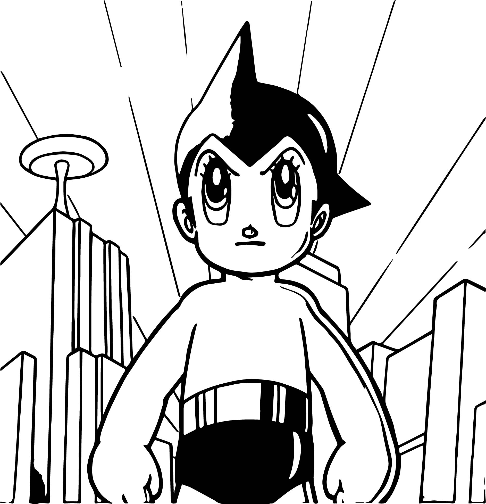 Astro boy angry in city coloring page for Astro boy coloring pages free