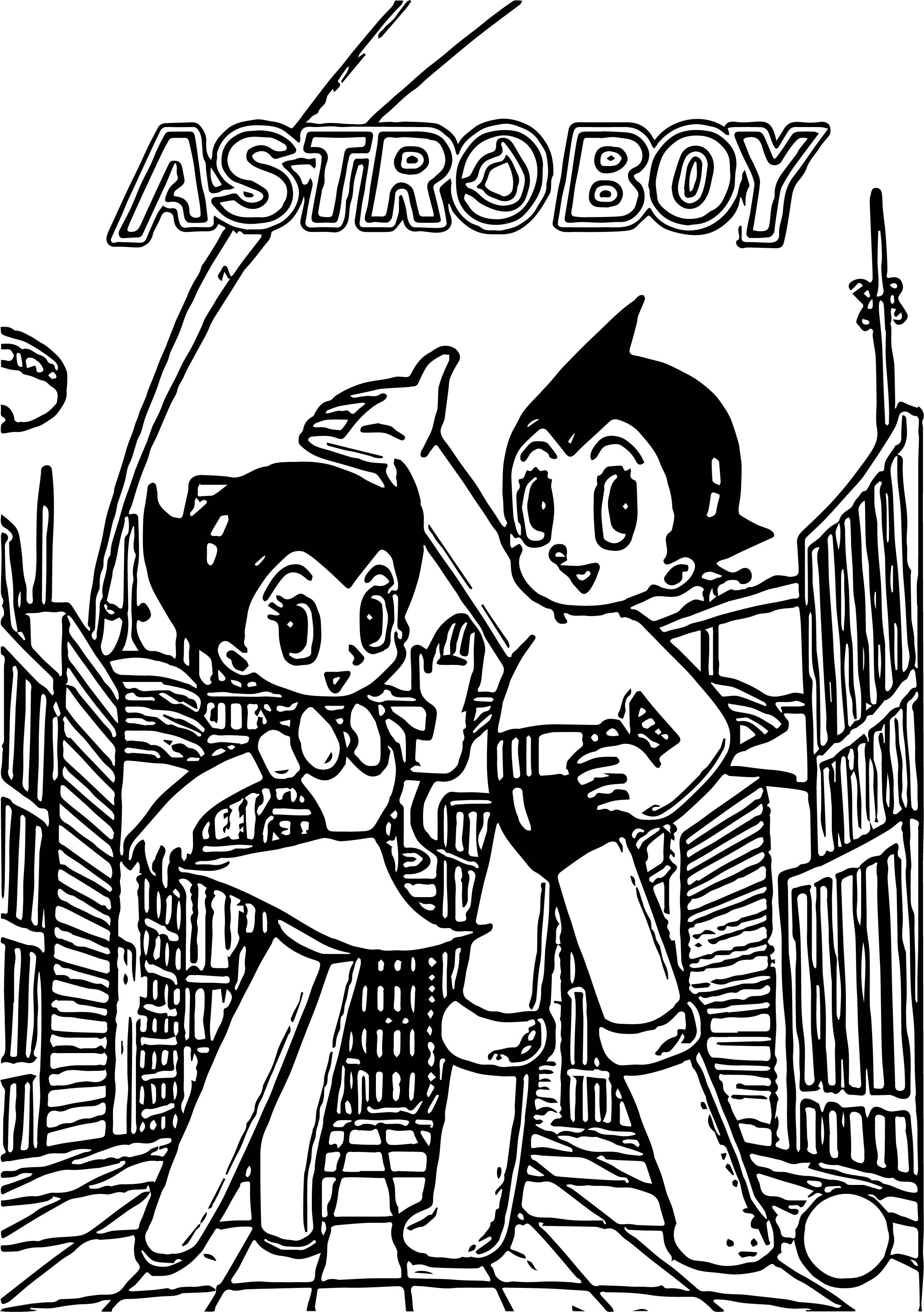 Astro Boy City Coloring Page