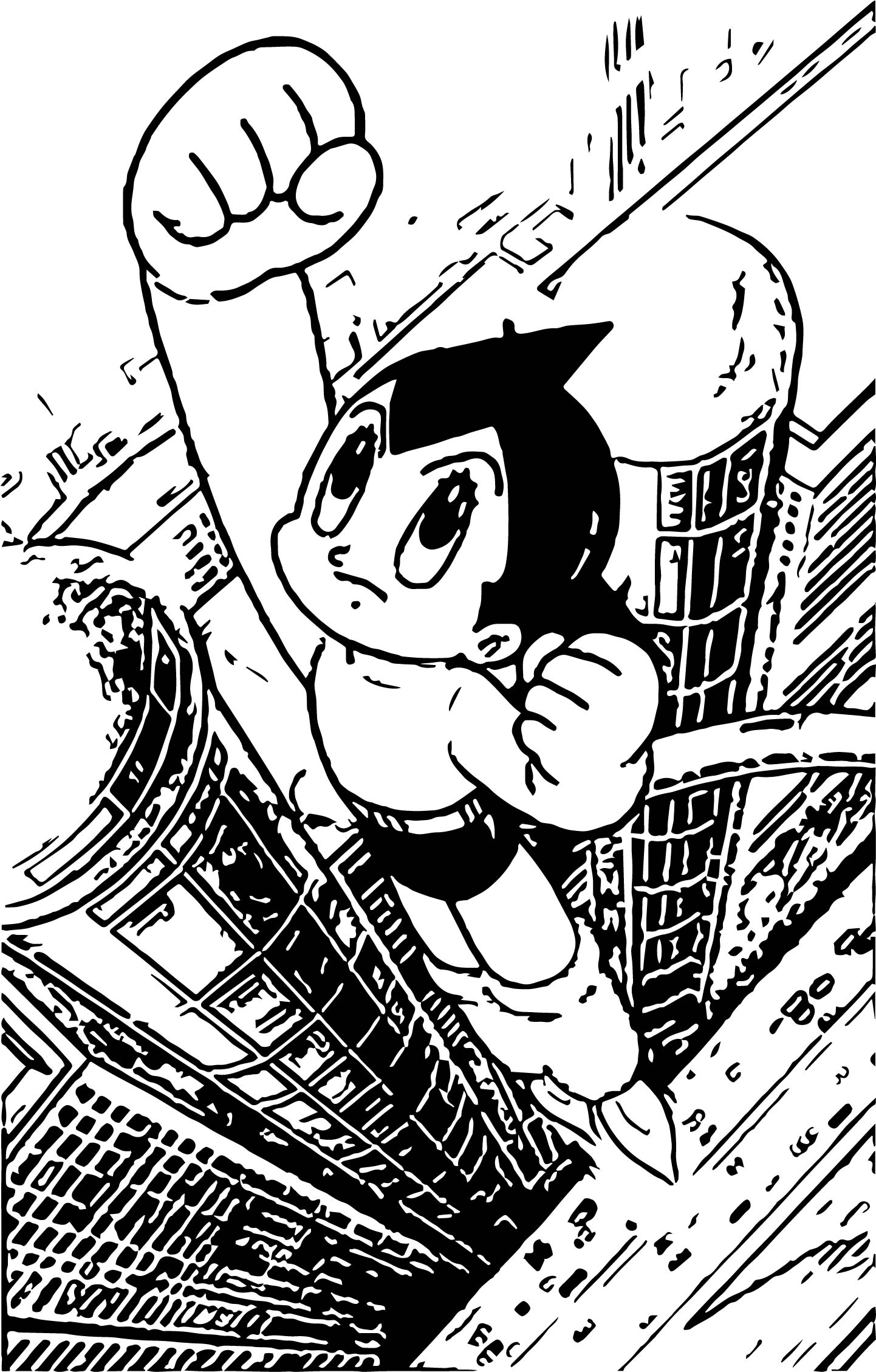 Astro Boy City Fly Coloring Page