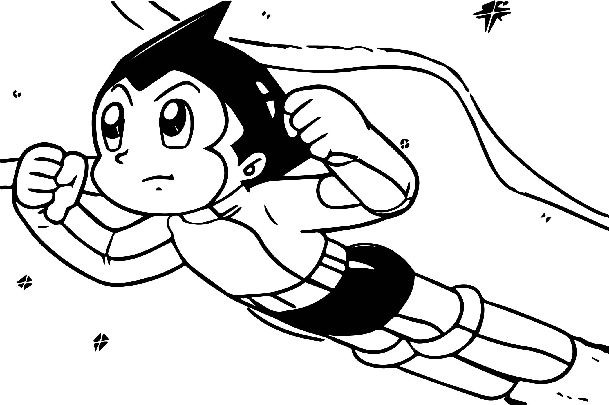 Astro Boy Space Coloring Page