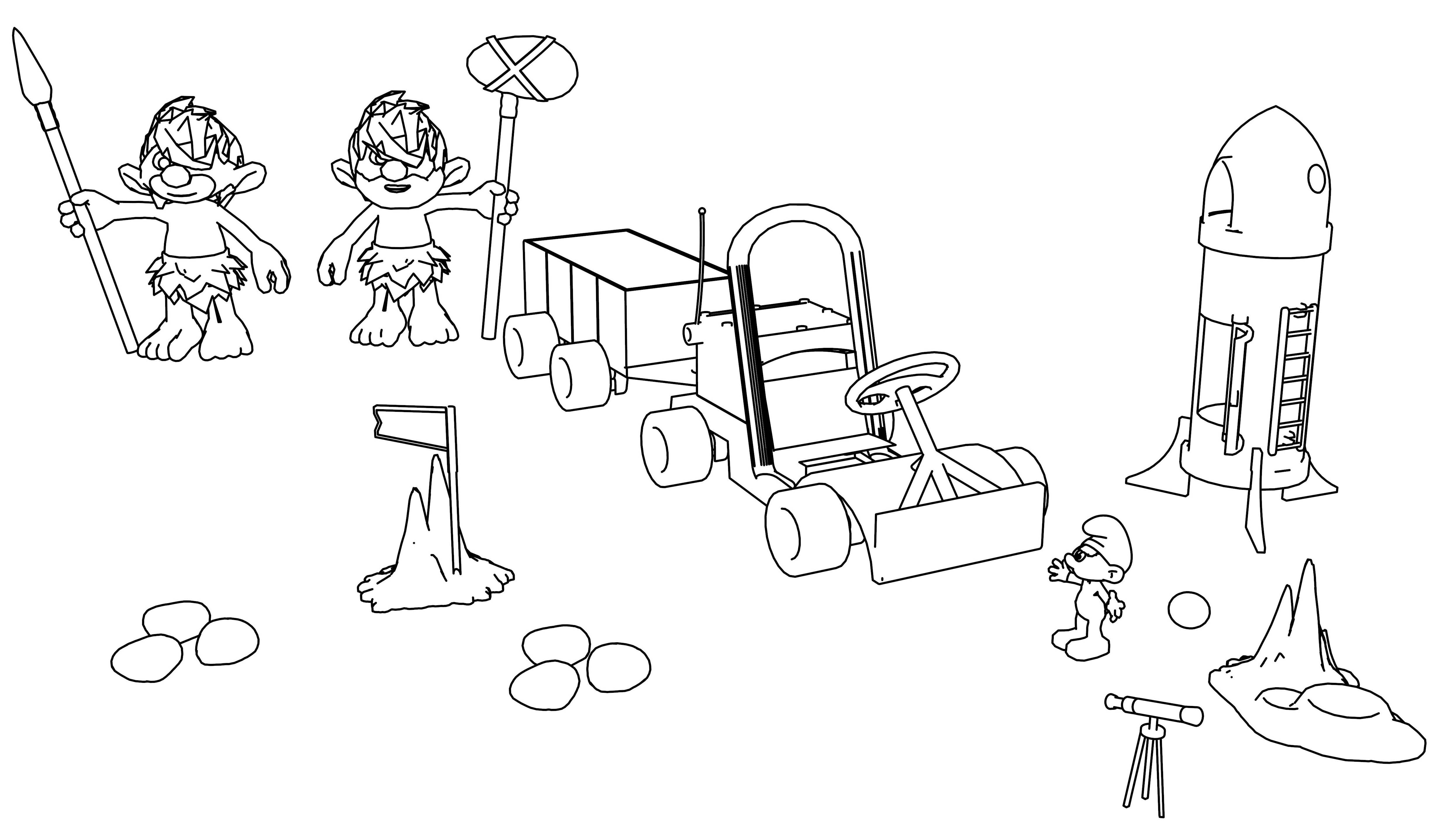 Astro Smurf On The Planet Coloring Page