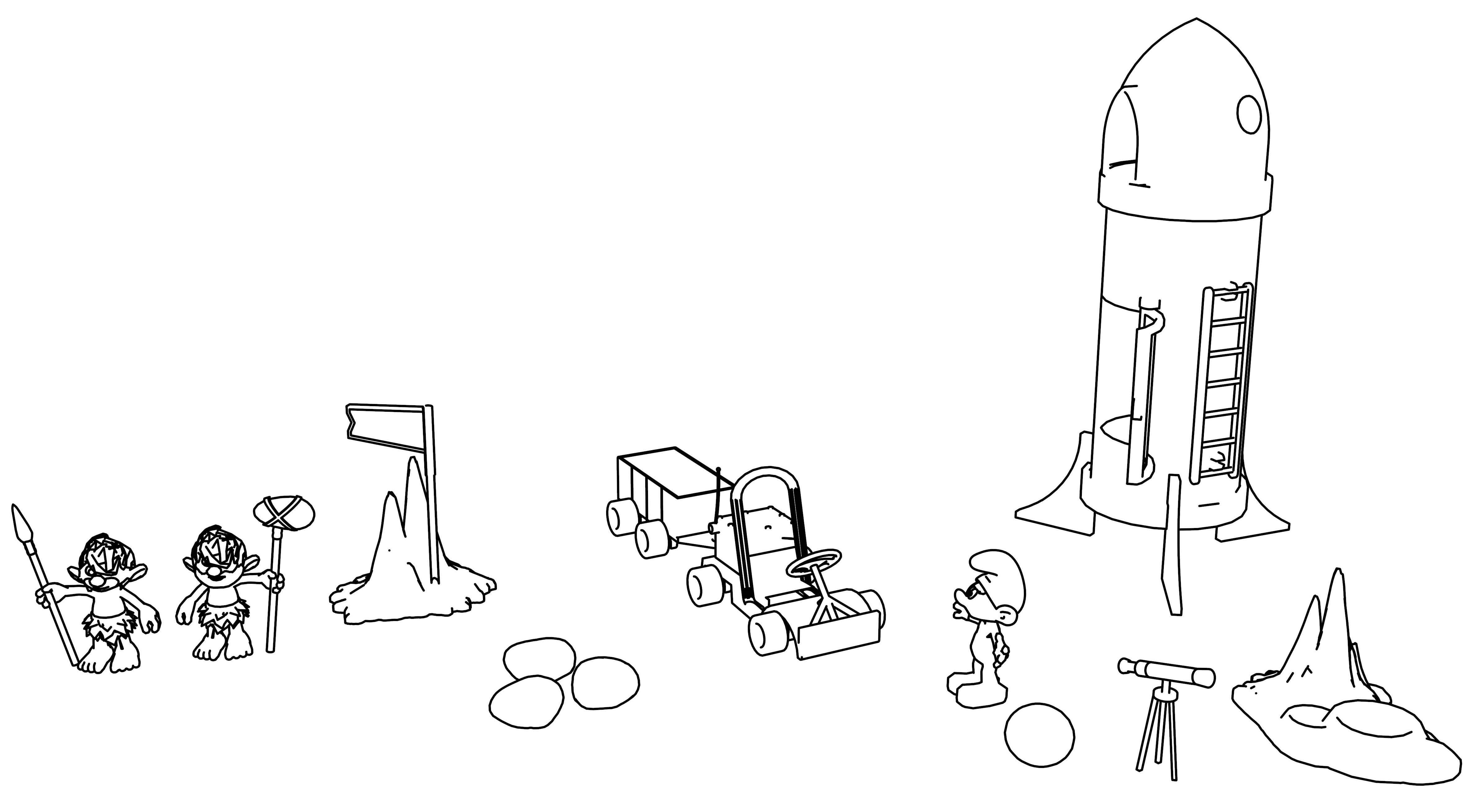 Astro Smurf On The Planet Space Coloring Page