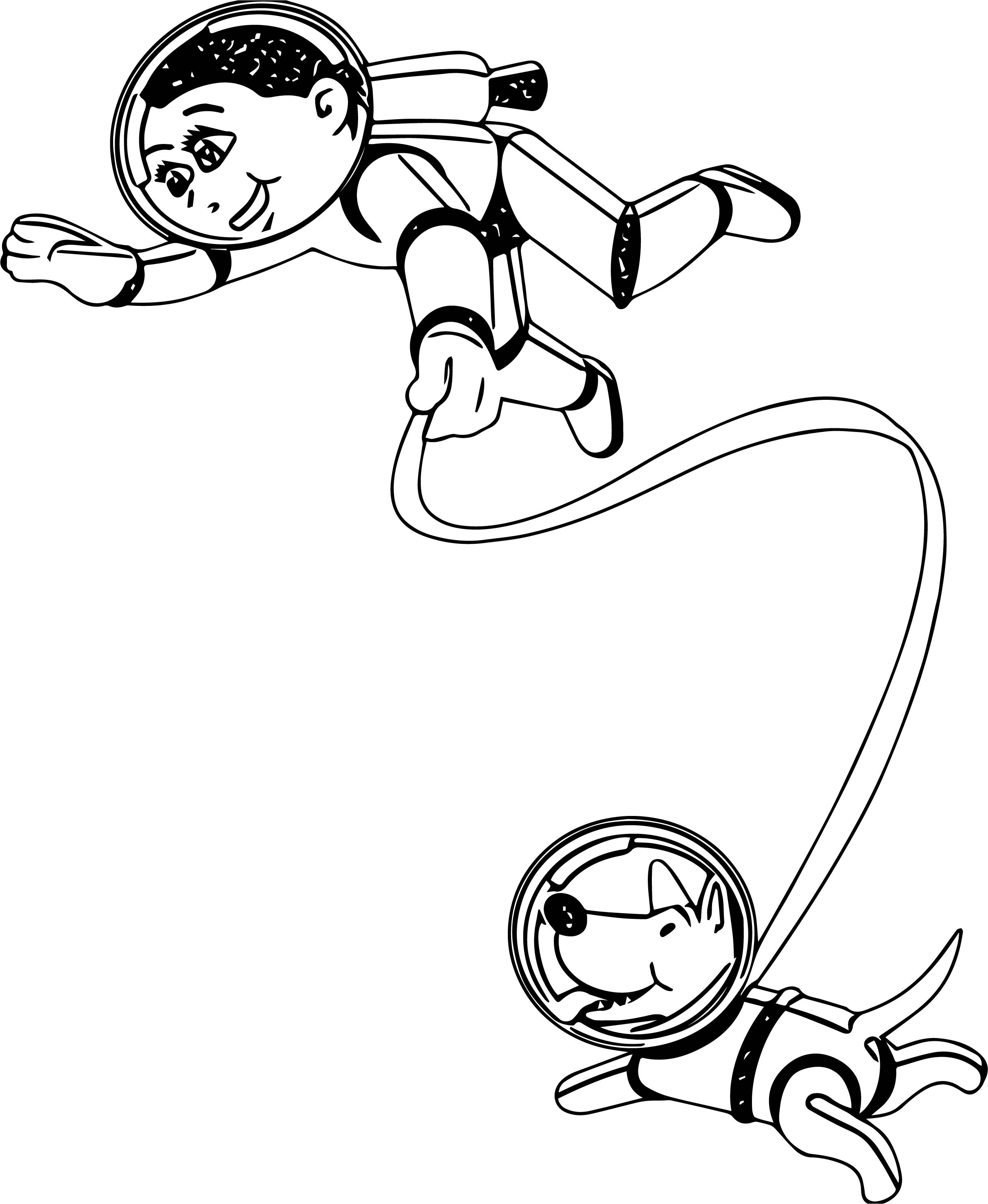 Astronaut And Dog Coloring Page