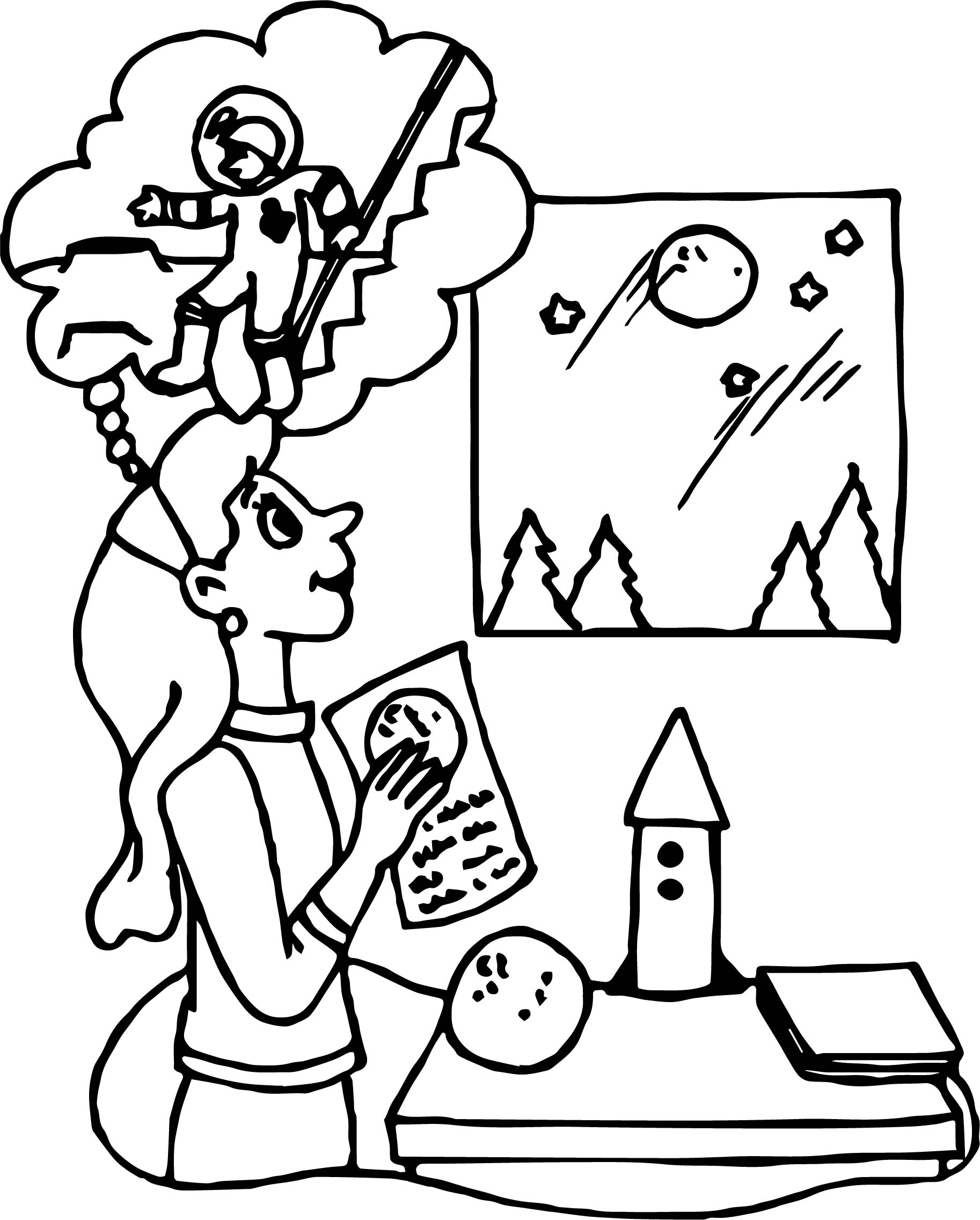 Astronaut Girl Friend Coloring Page