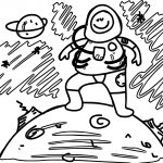 Astronaut Space Child Line Coloring Page