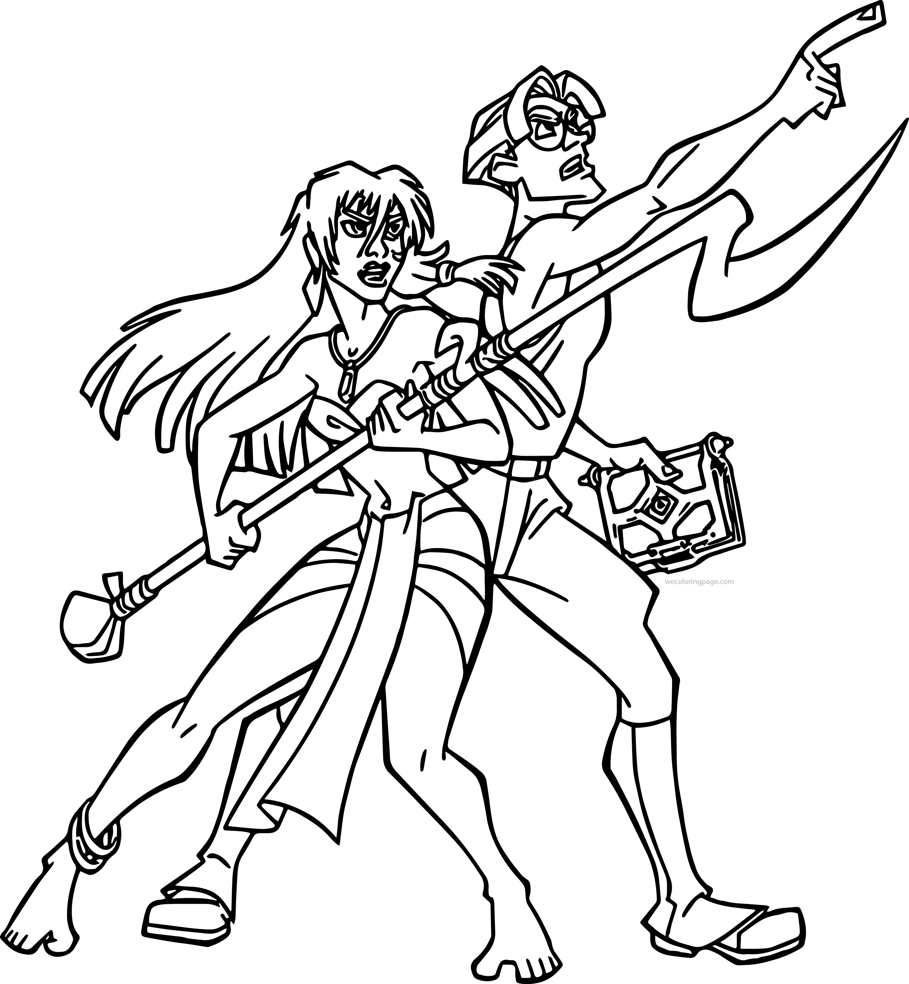 Atlantis The Lost Empire Kida And Milo James Thatch Warrior Coloring Page