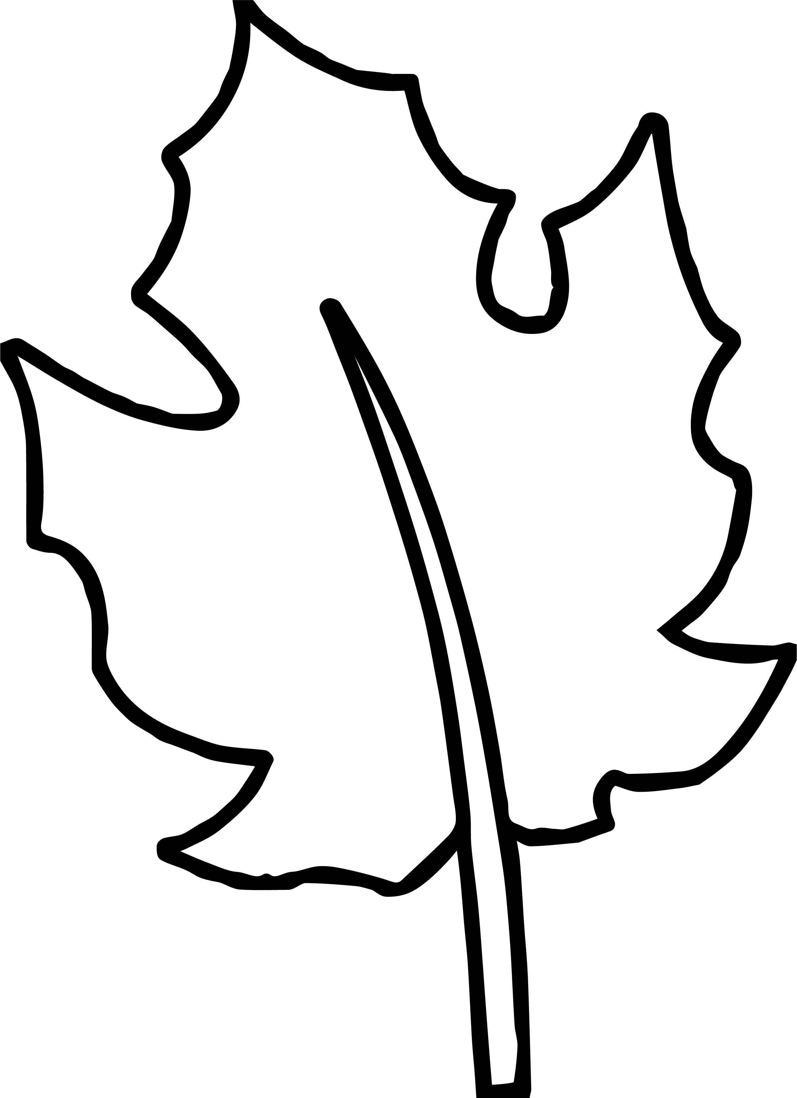 bold line coloring pages | Autumn Bold Line Leaf Coloring Page | Wecoloringpage.com