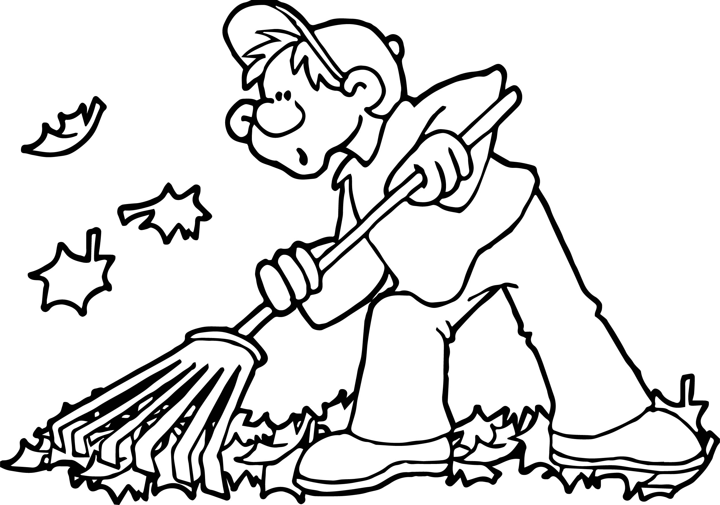 Autumn Cleaning Leaf Boy Coloring Page